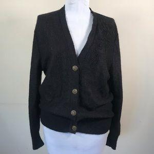 Vintage Geiger Black Wool Embellished Cardigan